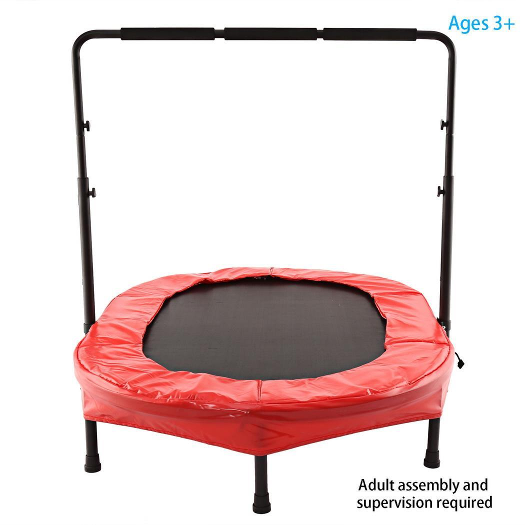 2 Color Parent-Child Twin Trampoline with Safety Pad and Adjustable Handlebar T1