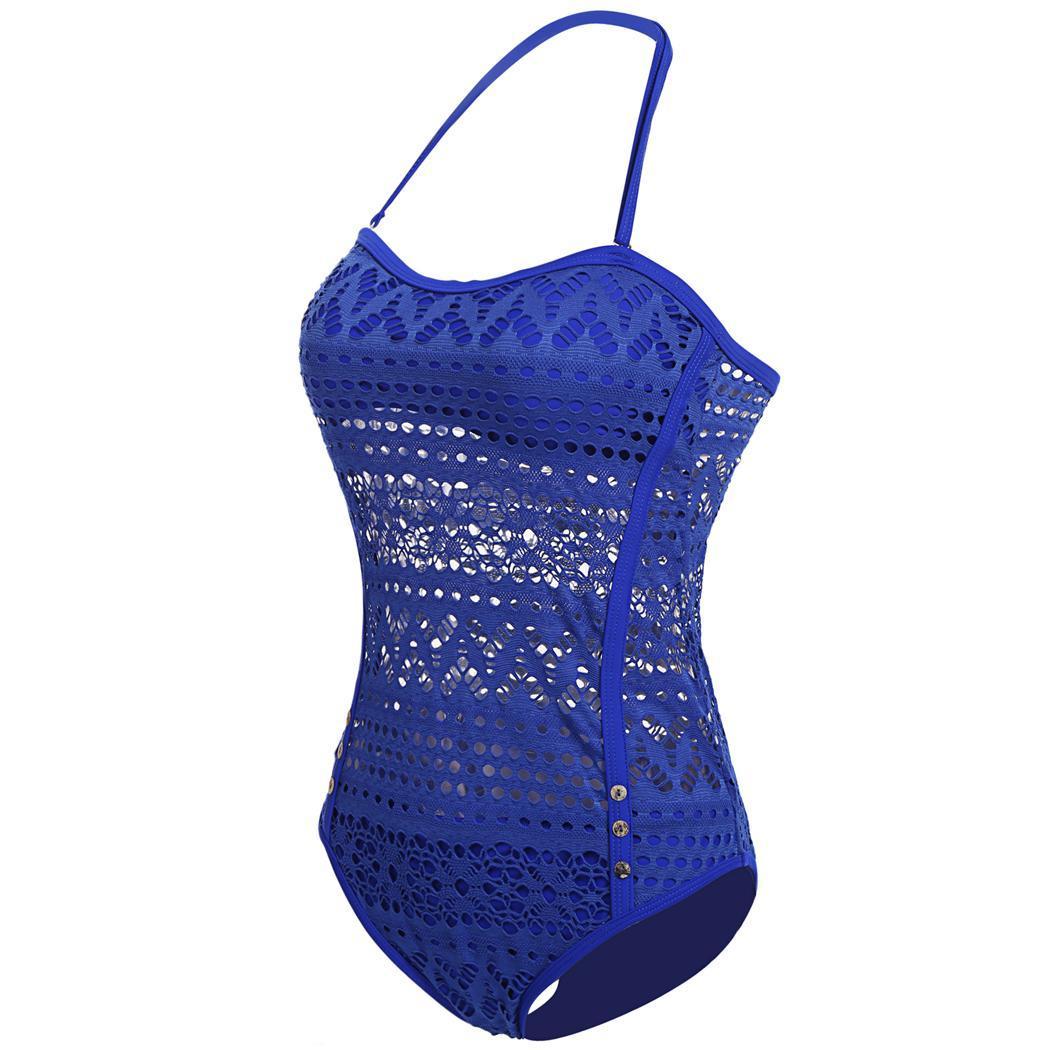 1d4c1853fa9 Details about Women Crochet Lace Halter Straps One Piece Swimsuits Bathing  Suit O041 01