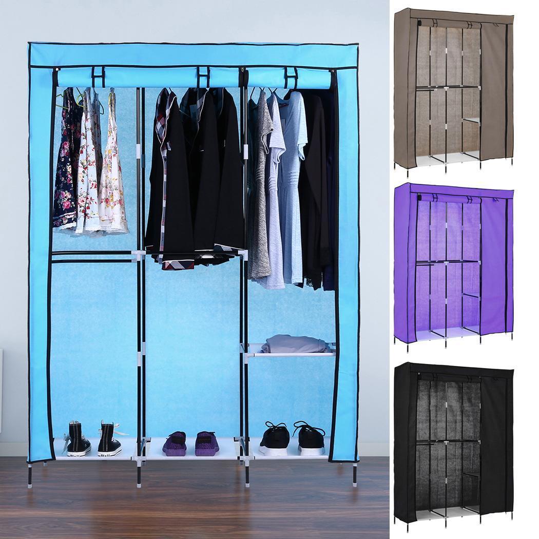 Type2 New Portable Clothes Closet Wardrobe Double Rod Storage Organizer
